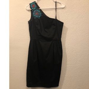 One shoulder dress w/ turquoise and orange detail